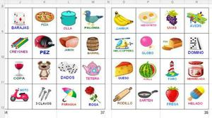 Lotería Para Imprimir 50 Cartones Y 84 Fichas