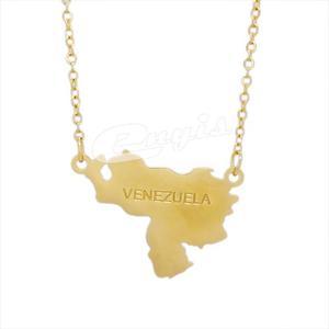 Juego De Cadena Dije Venezuela En Acero Inoxidable