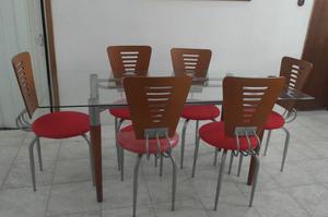 Comedor Pantrys. De 6 Sillas, Mesa De Vidrio, Como Nuevo