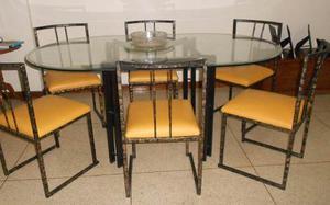 Juego de comedor ovalado con seis sillas posot class for Comedor hierro forjado