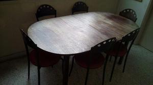 Oferta! Mesa De Banquete O Comedor De Madera De 6 Puestos
