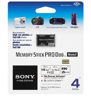 Memoria Sony 4gb Memory Stick Pro Duo Para Camaras