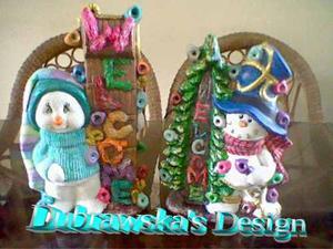 Muñecos De Nieve,reno,cazador Cerámica Navidad 40 Cm Alto