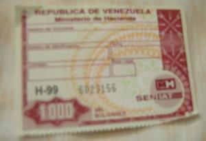 De Coleccióntimbre Fiscal De  Bs Cuarta Re De Venezuela