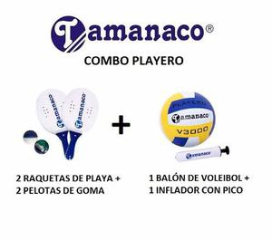 Raquetas De Playa + Voleibol + Inflador Playa Camping Combo