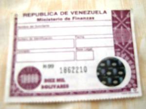 Timbre Fiscal De Coleccion De  Bs De Rep De Vla