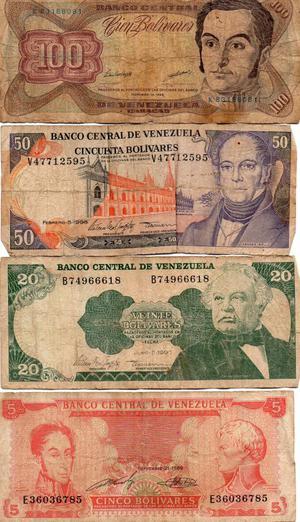 Billetes de colección Venezuela y moneda 5 bolívares