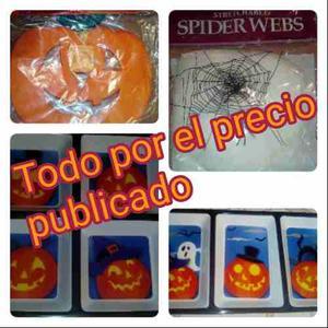 Combo Halloween Decoración Telaraña, Bandeja Y Guirnalda