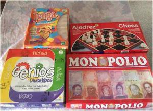 Combo Juegos De Mesa Genios + Jenga + Monopolio + Ajedrez