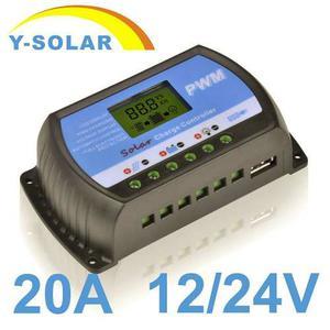 Regulador Controlador De Carga Solar De 20 Amp De 12 Y 24 V