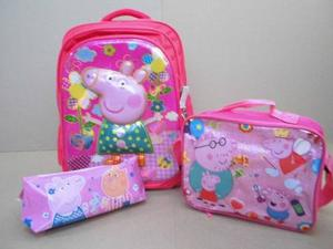 Combo Escolar Niñas Morral 3d Lonchera Cartuchera Peppa Pig