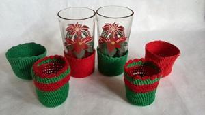 Porta Vasos De Navidad Y 2 Vasos De Navidad
