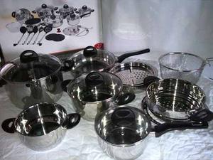 Juego De Ollas Acero  Steel Ware 27 Piezas Induccion