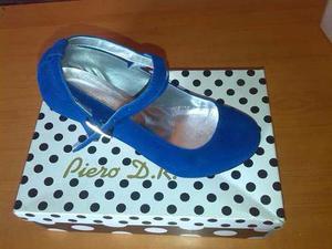 Zapatos De Tacon Azul Rey Marca Piero D.r.