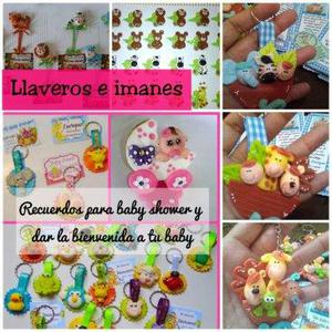 llaveros masa flexible baby shower