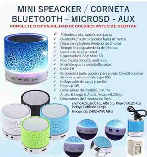 Corneta Bluetooth Inalámbrica Led Fm Auxiliar Microsd Usb