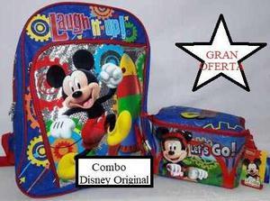 Bolso O Morral Escolar + Lonchera De Mickey Mouse (combo)
