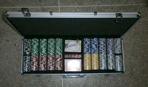 Maletín Poker 300 Fichas Mazo De Cartas+dados+llave