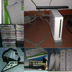 Consola De Wii + Wii Fit + Guitarra + Controles + Juegos