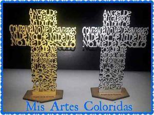 Cruz - Oración Ángel De La Guarda Mdf Artesanías