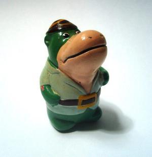 Sacapuntas Chino Cerámica Vintage Hipopótamo Verde