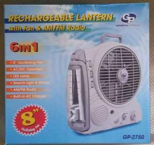 Ventilador Recargabe Lampara Led Radio Am/fm 6 En 1 Oferta!!