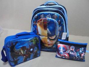 Combo Escolar Morral Lonchera Cartuchera Avengers Vengadores
