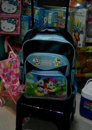 Morral Bolso Escolar De Rueditas De Mickey Mouse
