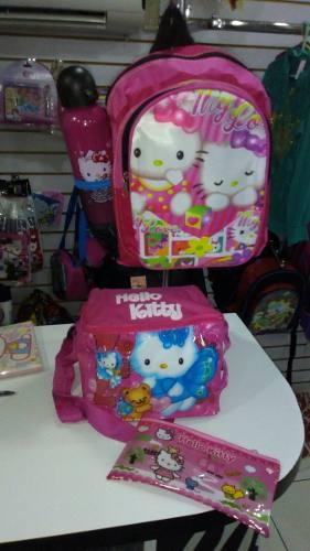 Morral Preescolar Hello Kitty + Cartuchera+ Termo+ Lonchera