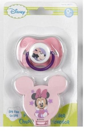 Disney Minnie Mouse Set Chupon Ortodoncico Y Sujeta Chupon