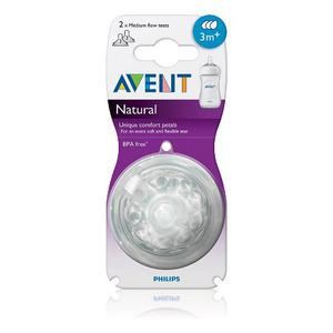 Set De 2 Tetinas Natural Philips Avent Flujo Medio 3 Meses +