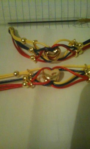 Pulseras Tricolor Con Dije De Corazón