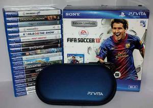 Combo Premium Sony Ps Vita + 18 Juegos + Estuche + Regalos