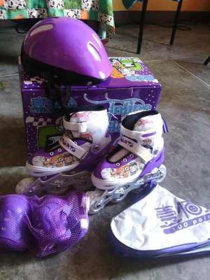 Patines En Linea Para Niñas Y Niños Con Luces Kit Completo