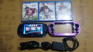 Psp Vita + Memoria De 16 Gb + 4 Juegos + Forro Poco Uso