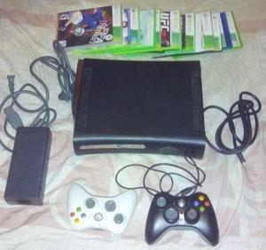 Xbox 360 Elite 250gb Con 12 Juegos (chip) Y Dos Controles