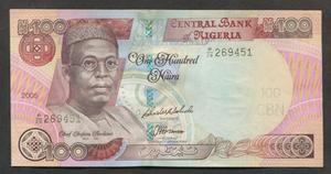 Billete Nigeria 100 nairas , SC. GGGS NIG 10u