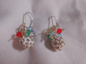 Zarcillos Bolas Azules Con Cristales Y Alambre Tpc