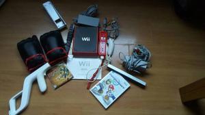 Mini Wii Rojo Con Todos Sus Accesorios Y Juego Original