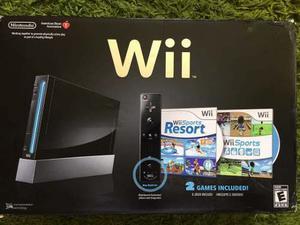 Wii Negro Como Nuevo En Su Caja Dos Mandos Y Tabla