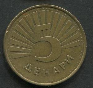 Macedonia 5 denarios , EF. GGGS MAC 1,75u