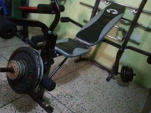 Banco Para Pesas Multifuncional Iron Fit + 100 Libras Discos