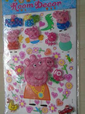 Calcomania Sticker Decorativo De Peppa Pig 5d Niñas