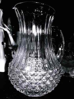 Jarra De Cristal De Bohemia Antigua Tallada En Perfecto Esta