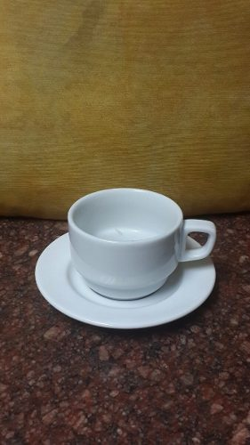 Taza Y Plato Cafe Valencia Porcelanas Victoria 6oz Cema
