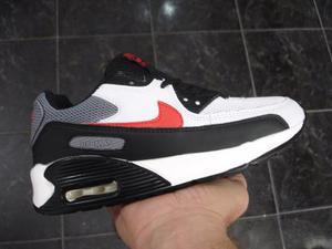 Kp3 Zapatos Nike Air Max 90 Blanco / Negro Rojo Del 35 Al 40