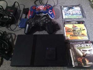 Playstation 2 Chipeado +2 Controles Lente Dañado