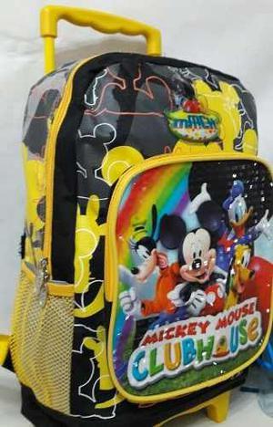 Bolso O Morral Escolar Con Ruedas De Mickey Mouse