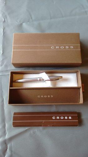 Boligrafo Cross Original Plateado En Estuche Para Regalo