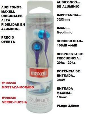 Audifonos Maxell Couleurs Tipo Botón Liquidacion Mercancia